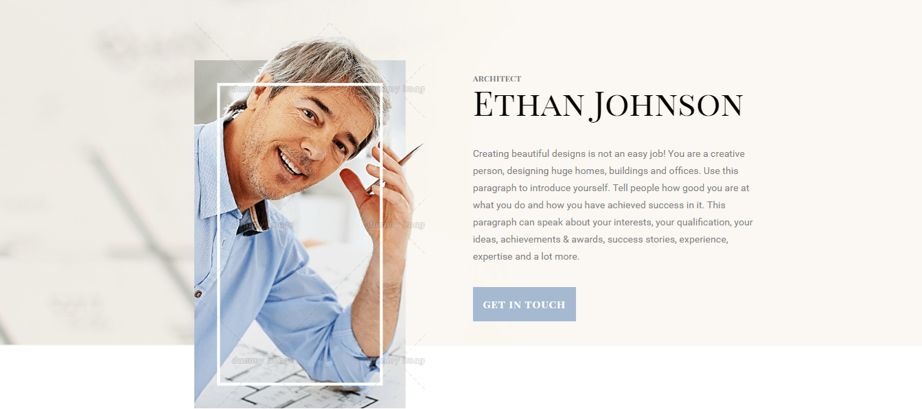 Beautiful landing page template for a personal profile for Html templates for personal profile