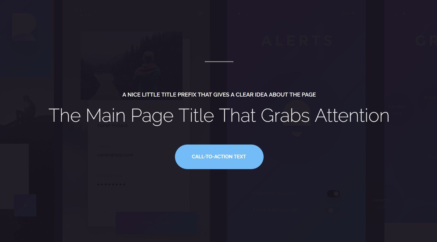 a conversion oriented page template for a registration or sign up