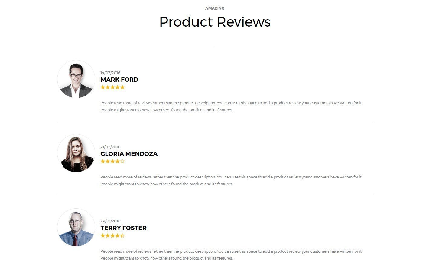 A simple yet professional internal product page template for Product review template wordpress