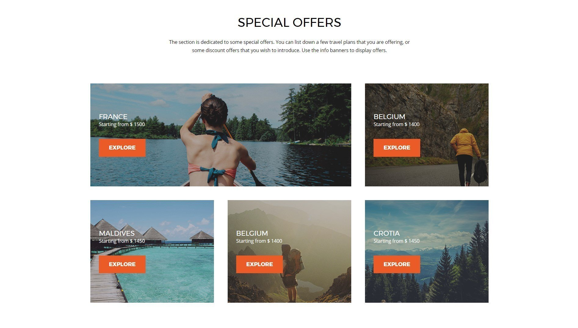 Ultimate Addons Info Banner Module Travel Offer Page Template