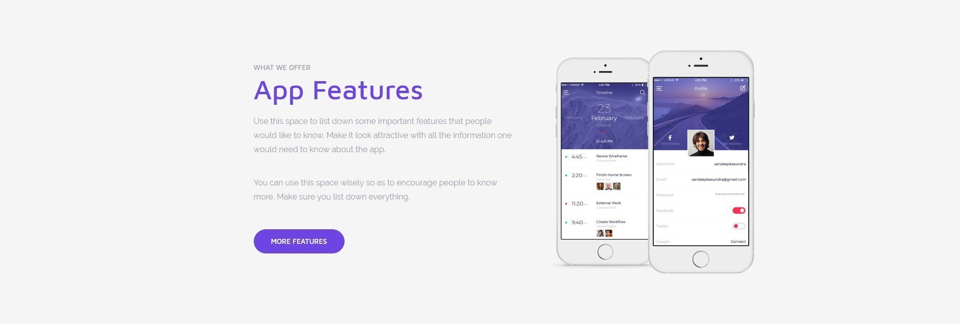 Mobile app page template features ultimate addons for for Mobile app terms and conditions template