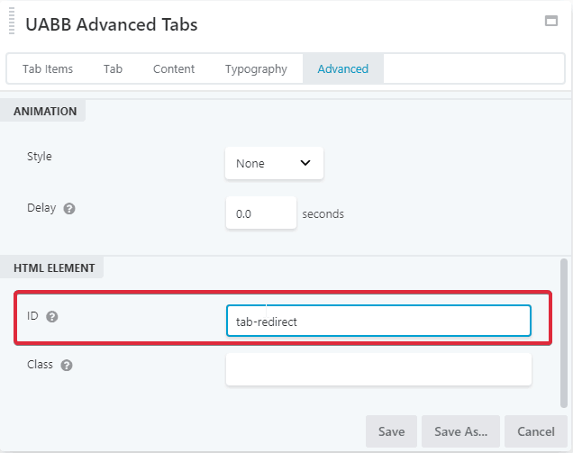 How to Open a Specific Element of Advanced Tab from a